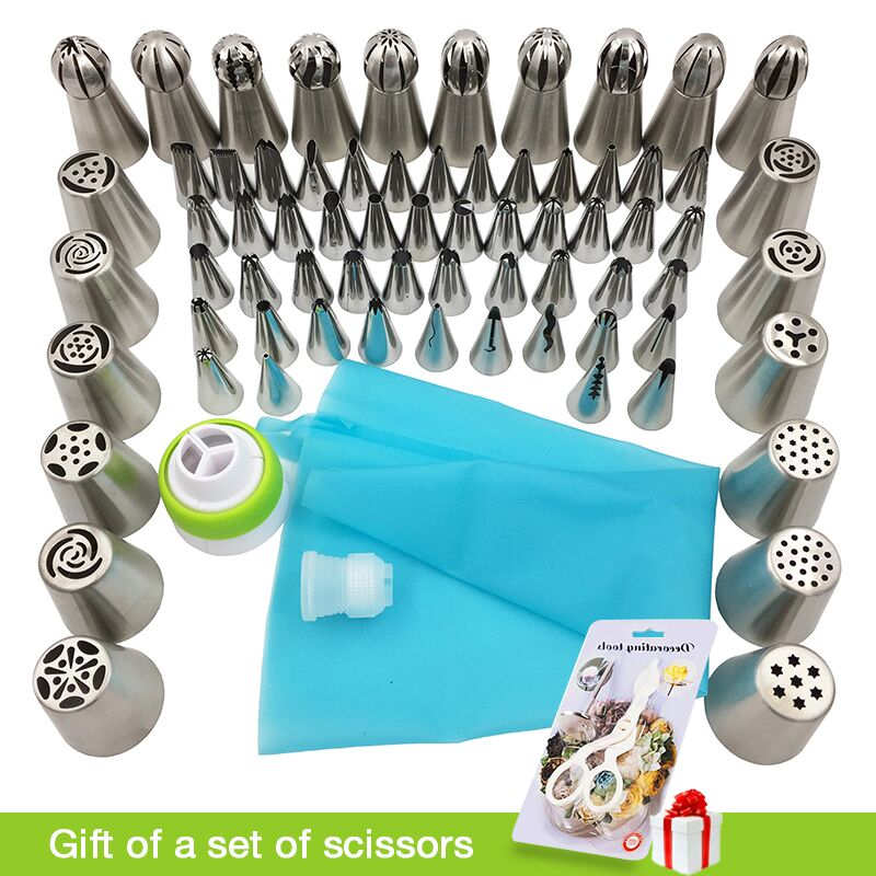 70 Pcs Russian Tulip Nozzle Bakeware Icing Piping Tips Baking Pastry Cake Decorating Tools 1 pcs silicone bag 2 coupler