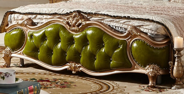 Green Leather Wood Carving Soft Bed