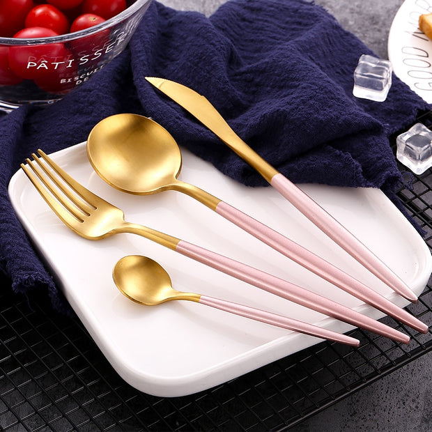 Gold Cutlery Pink Set