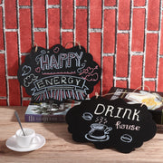 4pcs Mini Chalkboards Blackboard Tags Double-Sided Message Board Signs with Hanging Strings and Cleaning Cloth