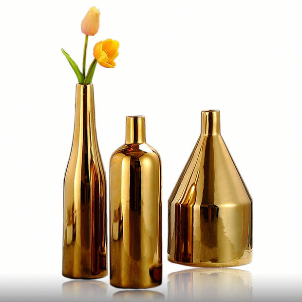 Gold-plated Ceramic Vase