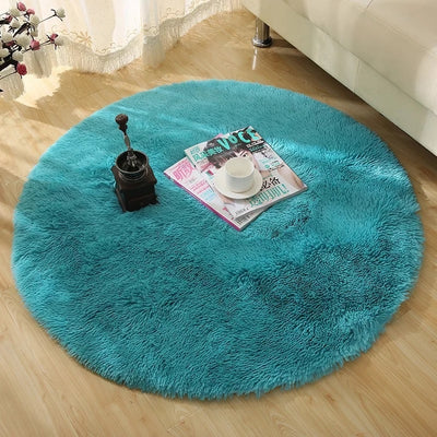 Faux Fur White Plush Fluffy Round Carpet