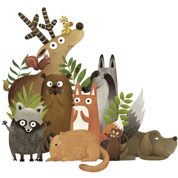 Forest Animals Elk Fox Rabbit Wall Stickers