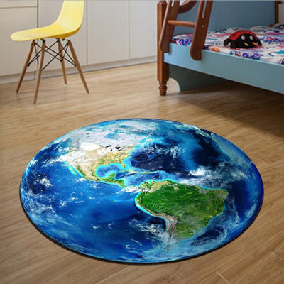 Round Carpet 3D Print Earth Planet Soft Carpet
