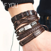 Multiple Layers Brown Leather
