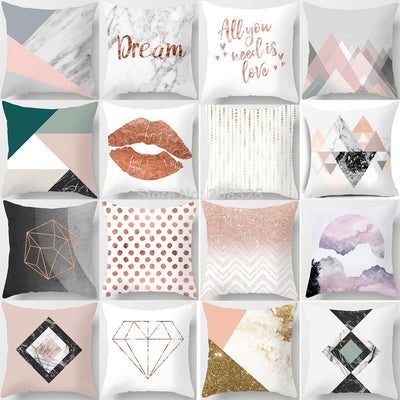 ZENGIA Geometric Lips Letter Pillow Case