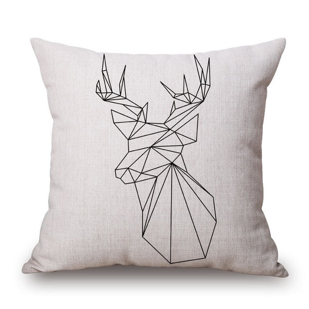 43*43cm Deer Pattern Cotton Linen Throw Pillow Cushion