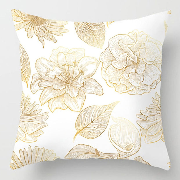 Golden Flowers Leaves Pillow Case