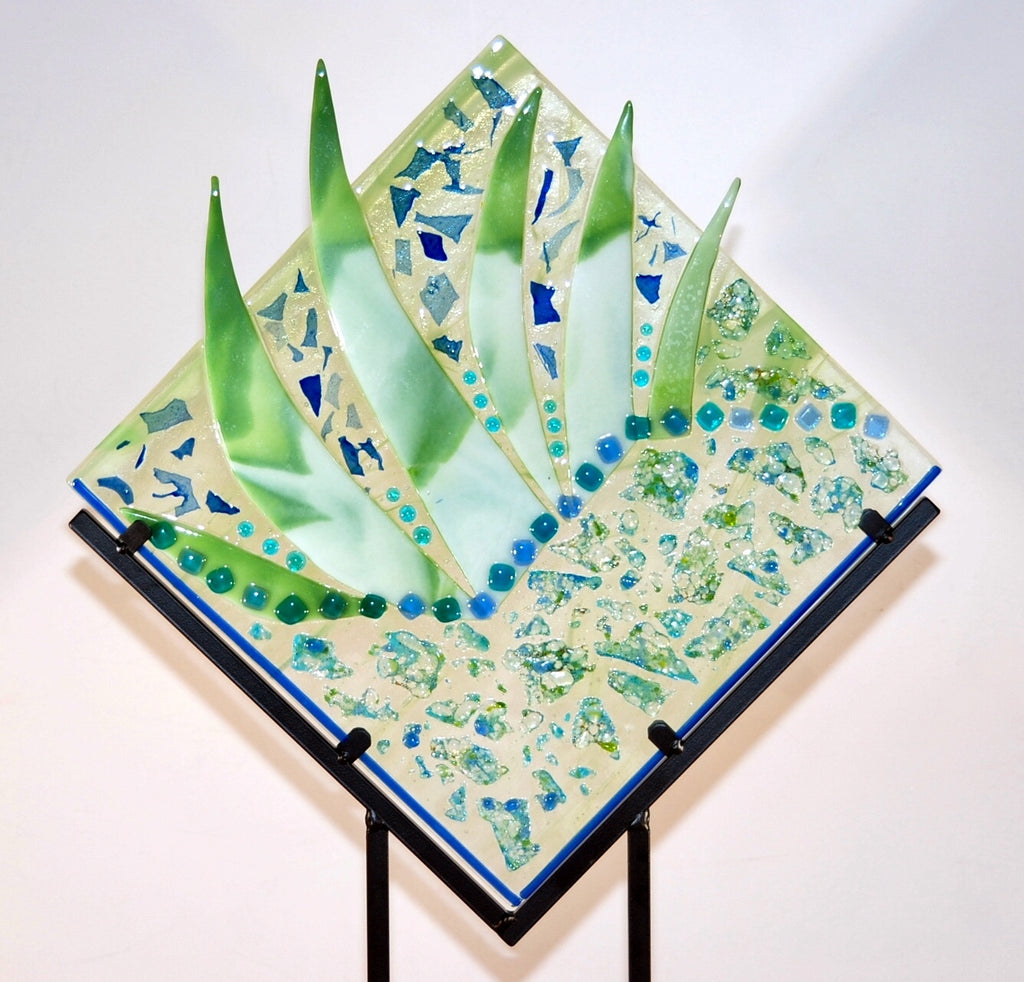 Blue/green glass collage panel