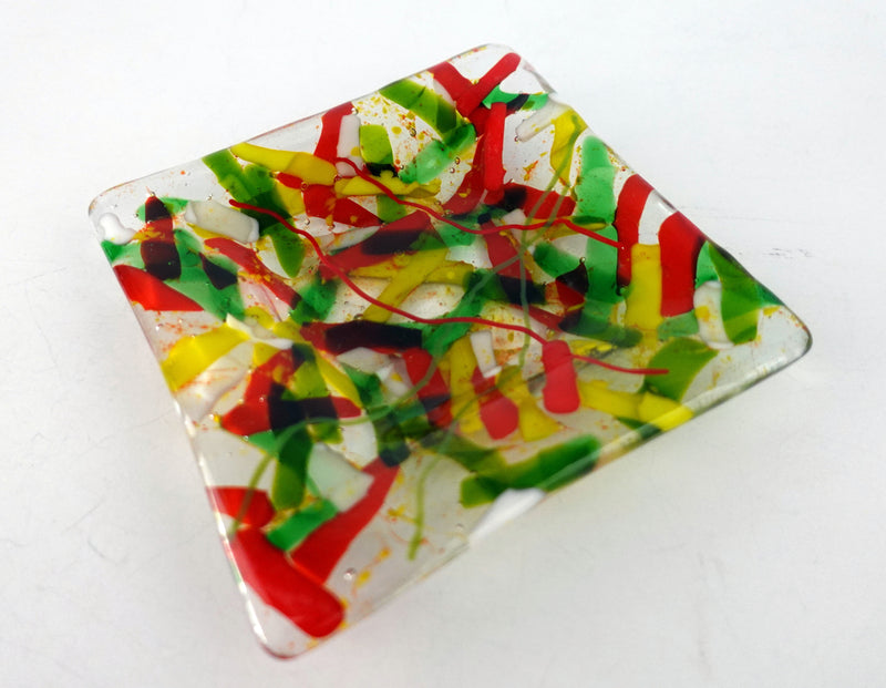 Colorful fused glass dessert plate
