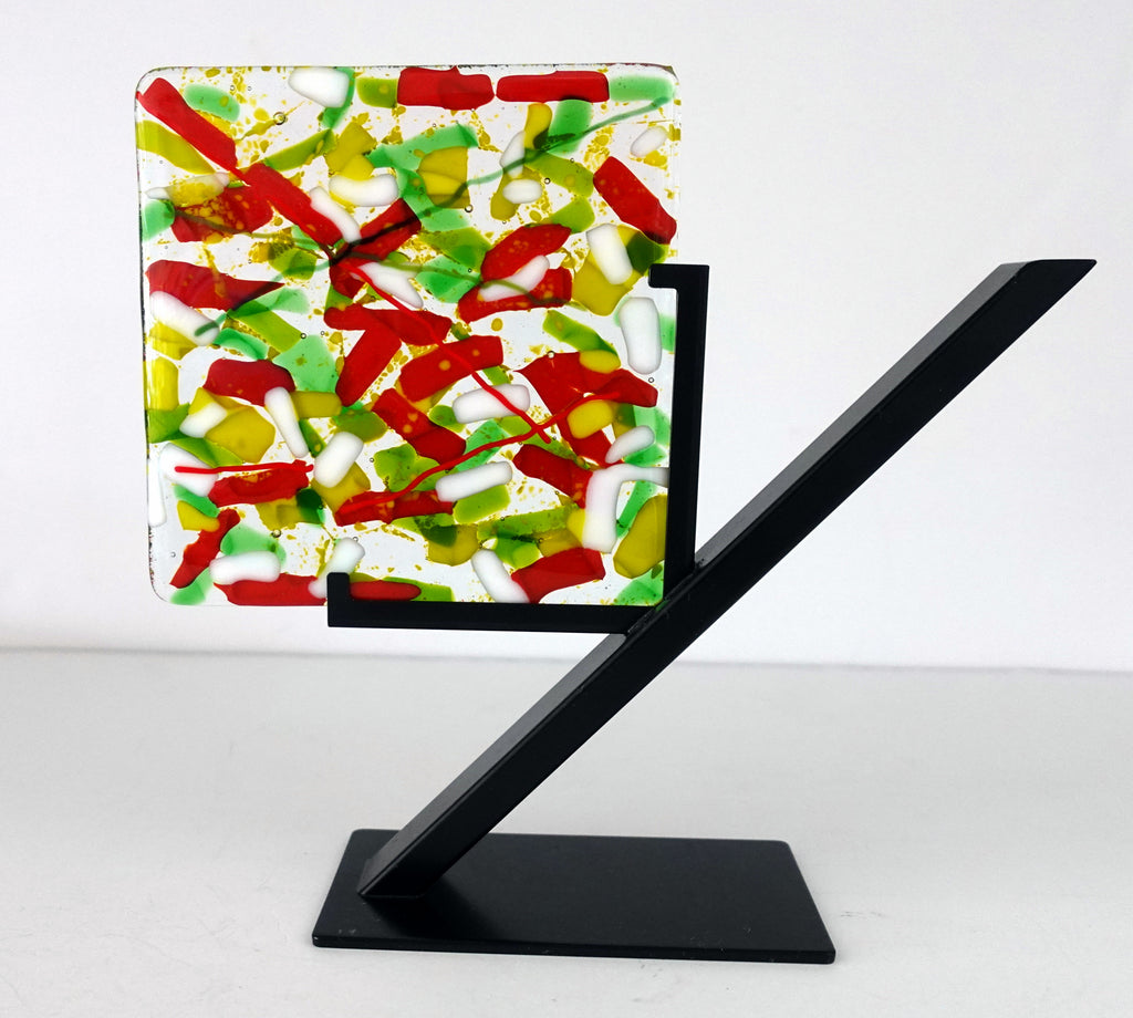 Red and Green Fractured Glass Dessert Plate