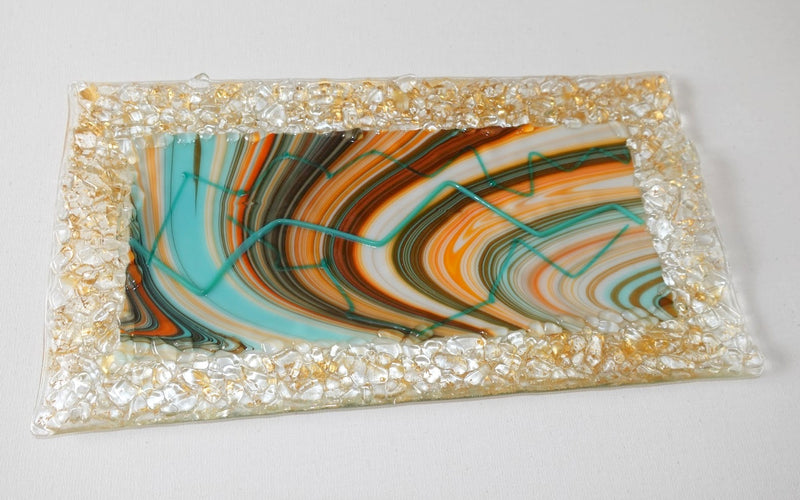 Desert Blend plate fused glass