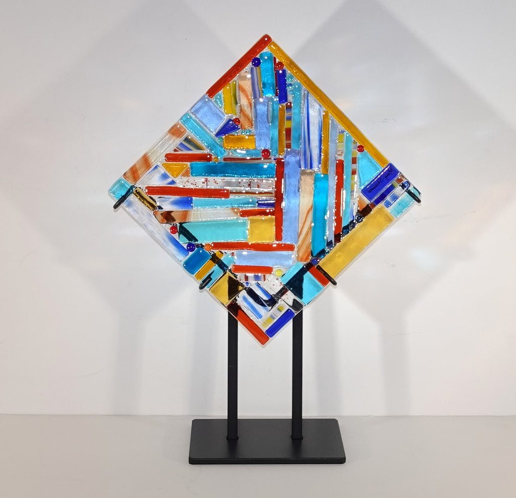 Geometric and Linear, Multi-colored panel with stand