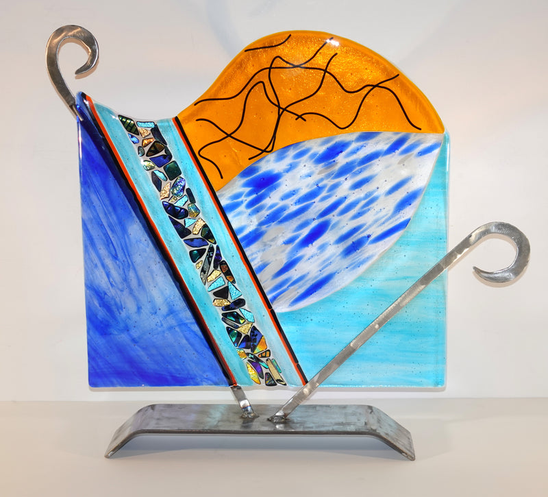 Large Blue and Amber Panel with Flowing Dichroic Accents