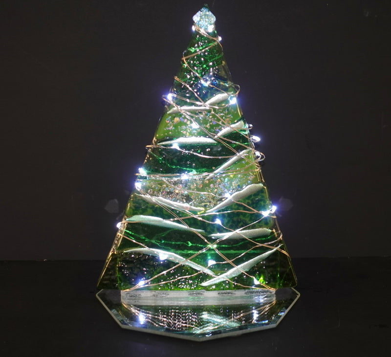Green Christmas tree, small tabletop, with led lights and mirrored base.