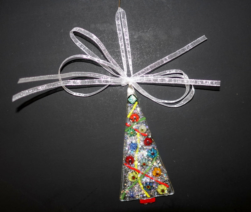 "Clear with multiple color minllifiore and dichroic fused glass christmas tree ornament - - 4"" approximately"