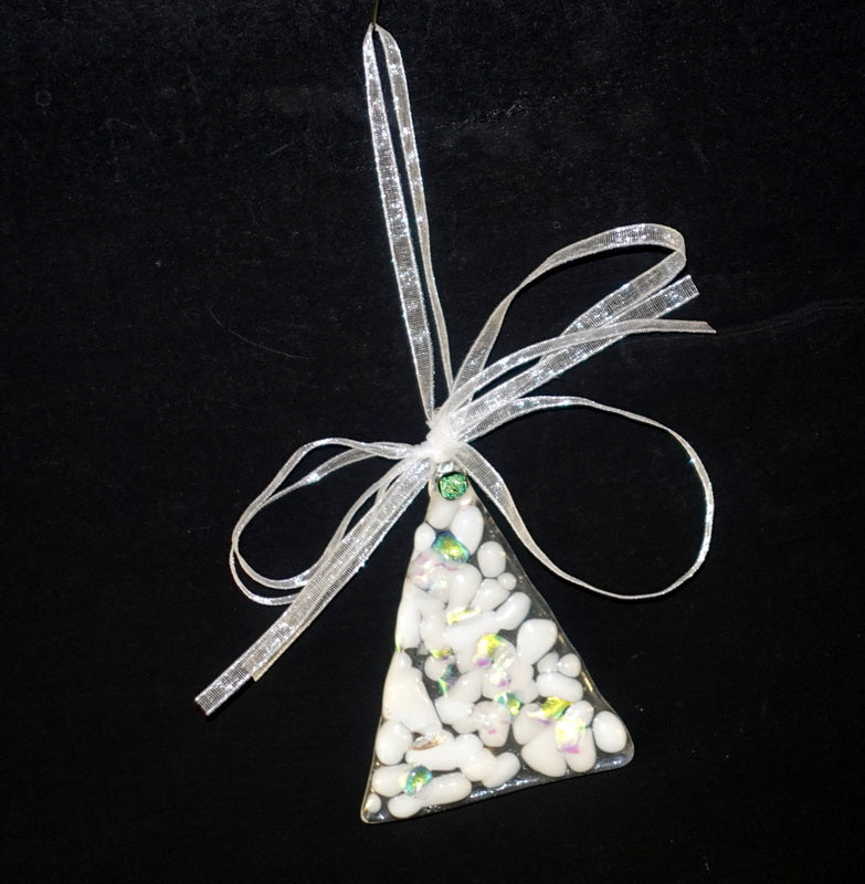 "Clear with white and dichroic fused glass christmas tree ornament - 4"" approximately"