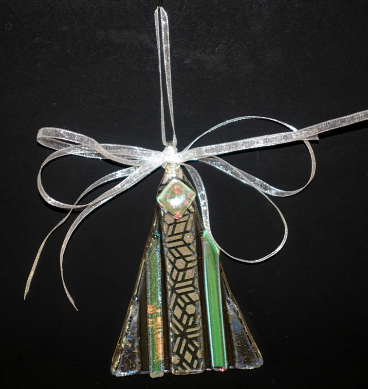 "Clear with geometric  dichroic fused glass christmas tree ornament-- 4"" approximately"