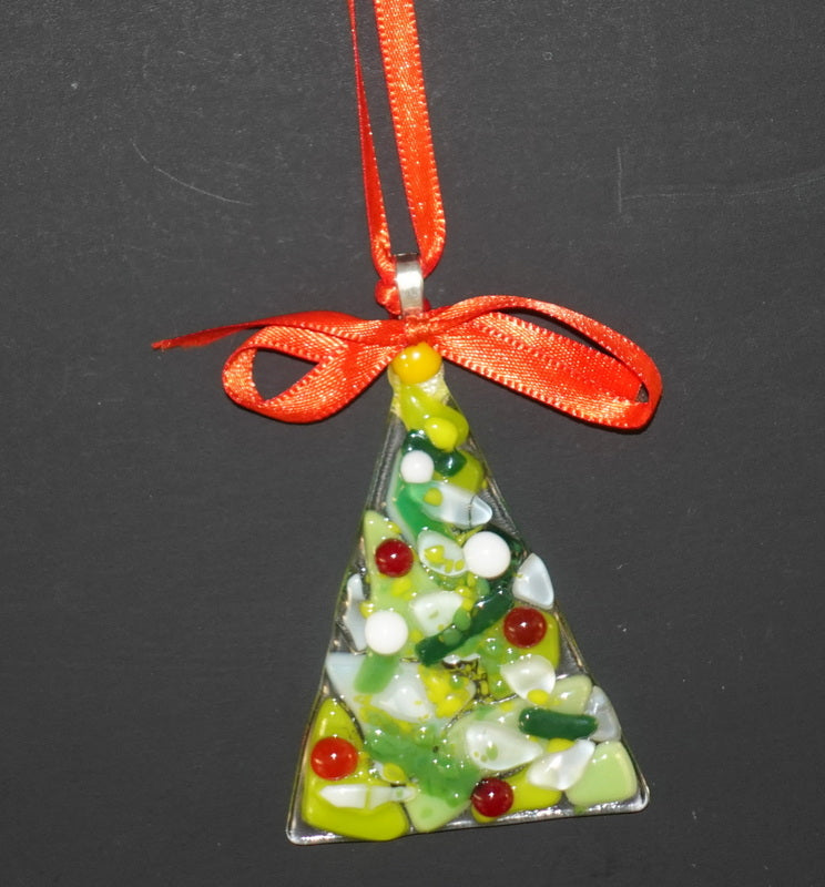 "Clear with chunky green red and white accents  fused glass christmas tree ornament - - 4"" approximately"
