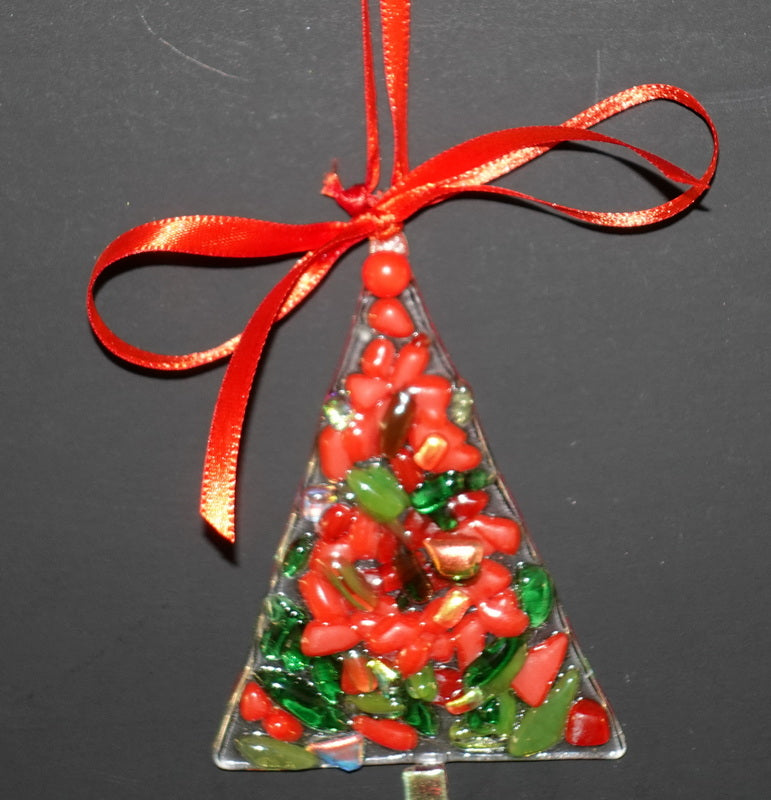 "Clear with red and green and dichroic fused glass christmas tree ornament - - 4"" approximately"