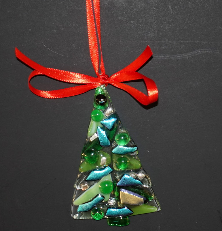 "Clear with green and gold and turquoise  and dichroic fused glass christmas tree ornament - - 4"" approximately"