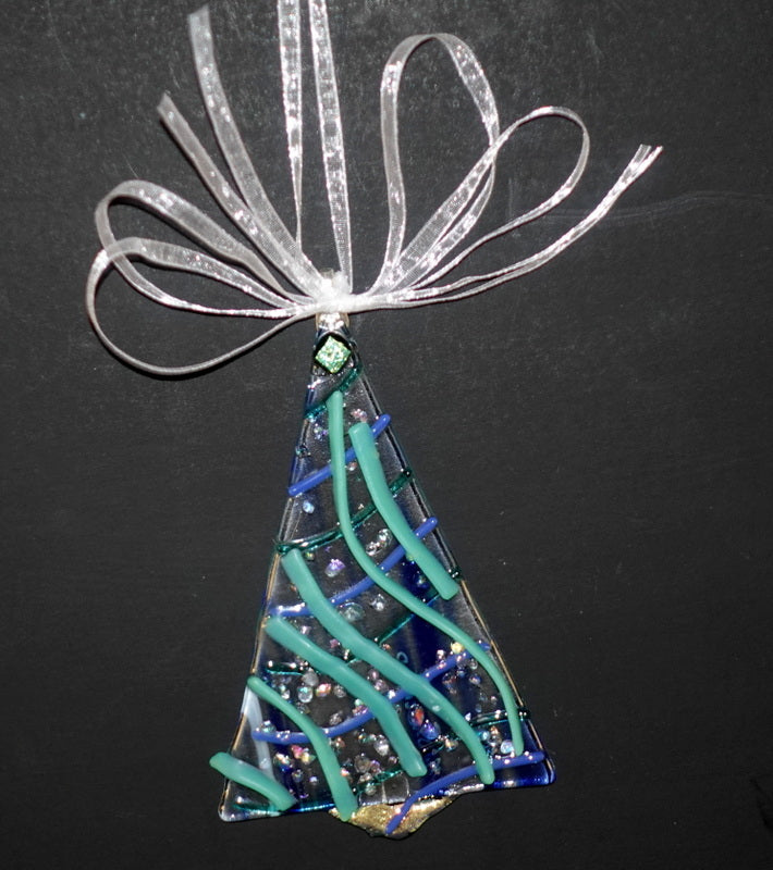 "Clear with blue and aqua and dichroic fused glass christmas tree ornament - - 4"" approximately"