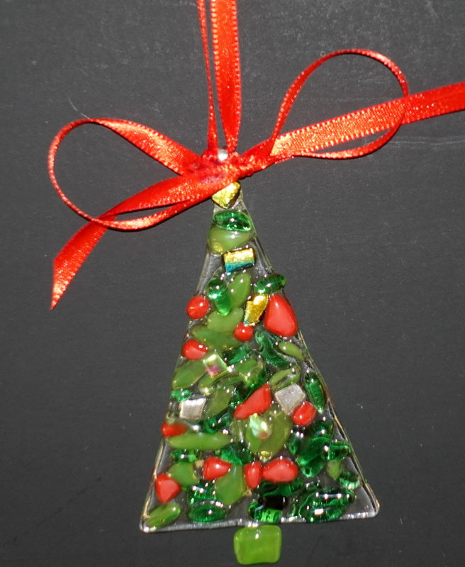 "Clear with green and red and dichroic fused glass christmas tree ornament - - 4"" approximately"
