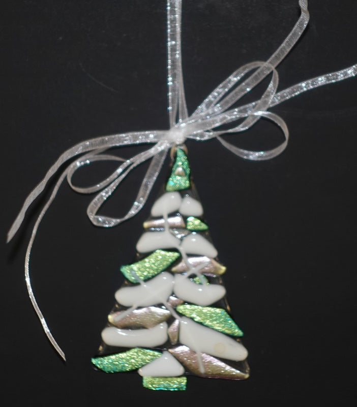 "Clear, white, silver with green dichroic fused glass christmas tree ornament - - 4"" approximately"