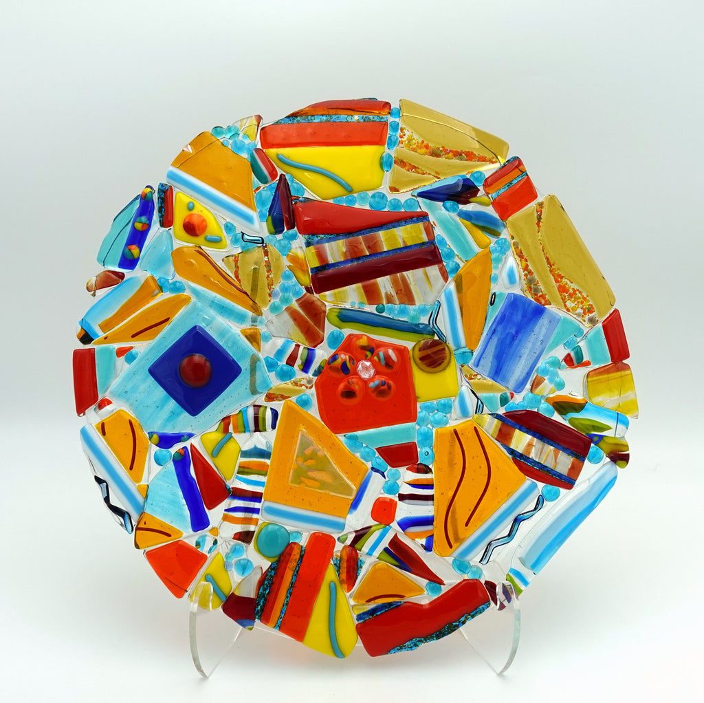 "13"" Glass art disc ""Beauty in the Broken Pieces"