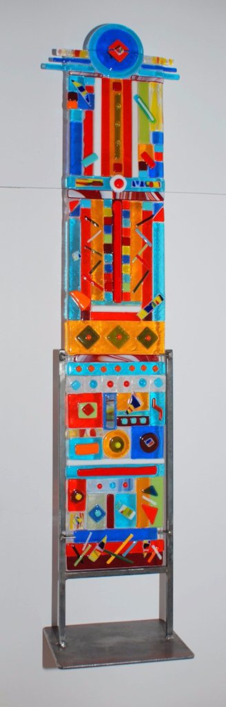 33 inch fused glass totem, multi-colored