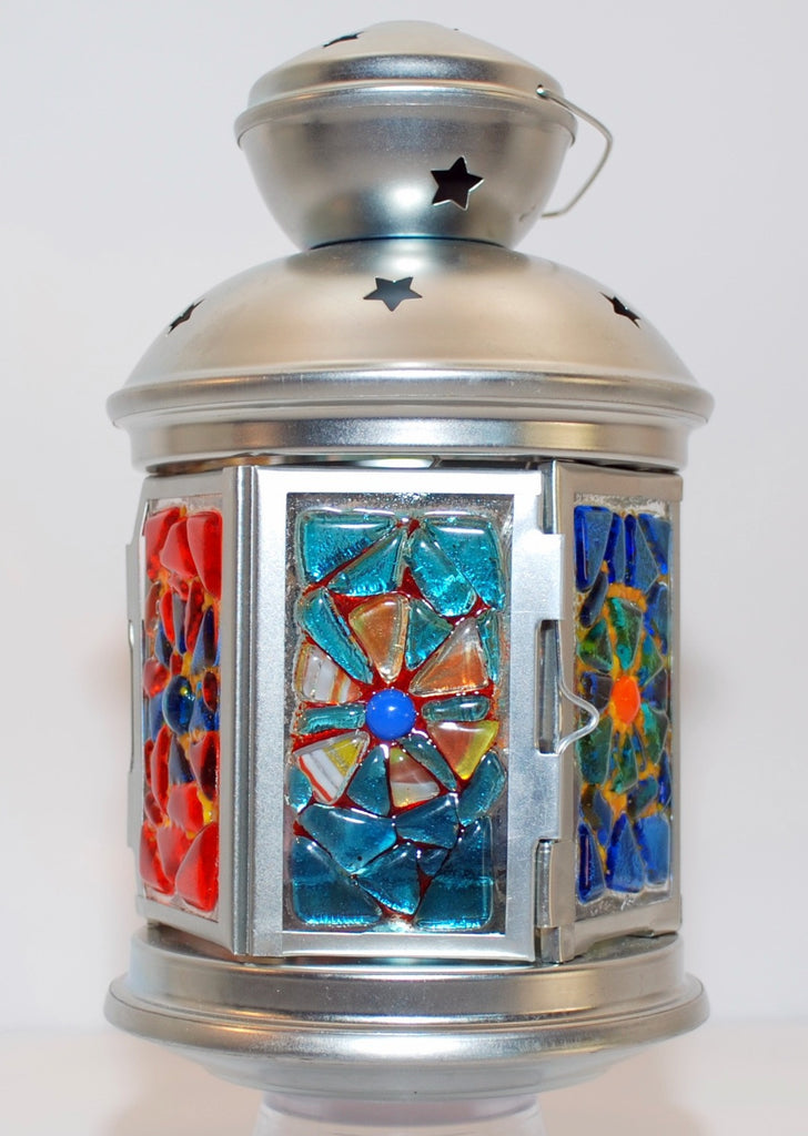 small metal lantern 9 inches, multicolor fused glass flower pattern
