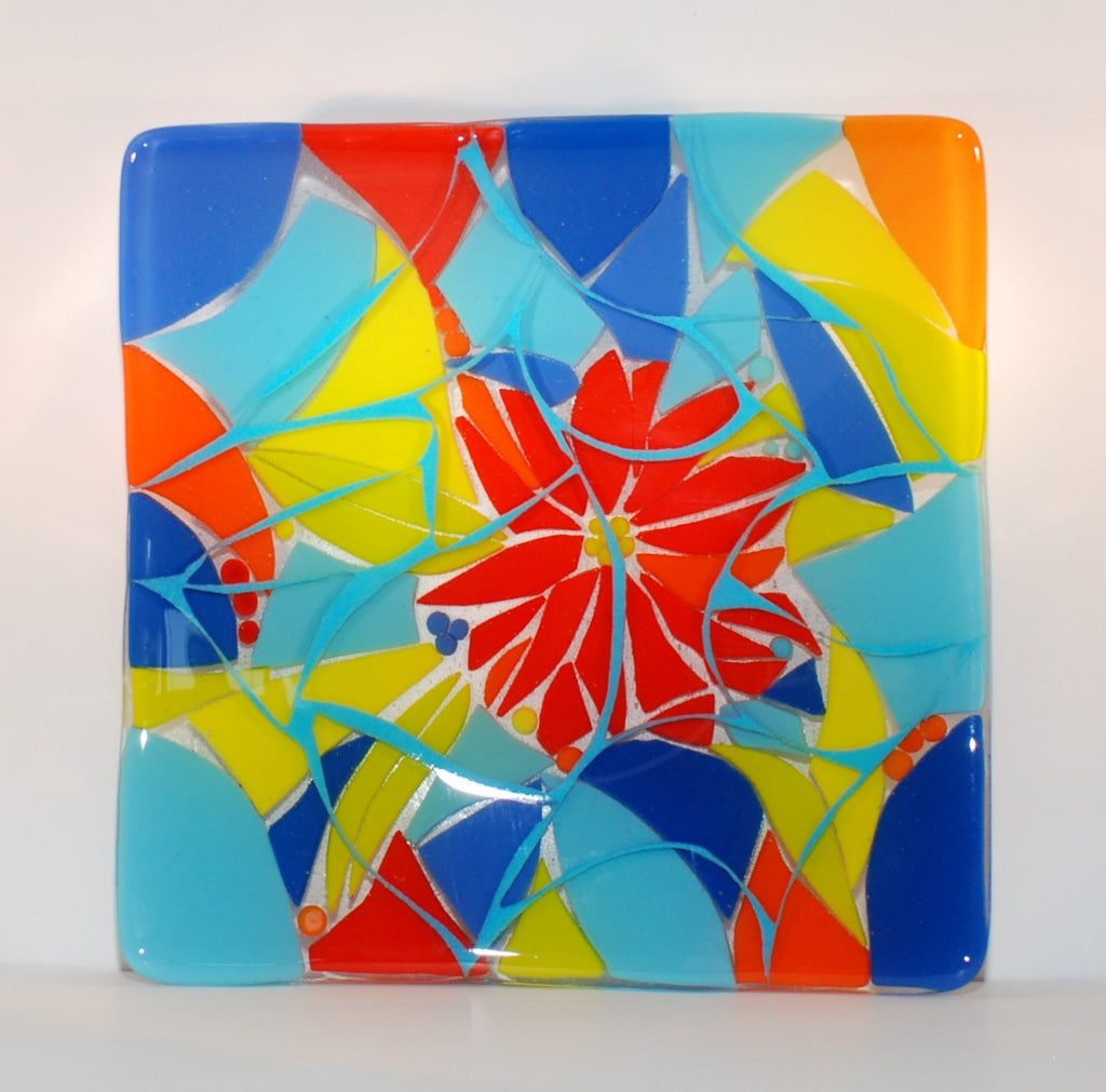 """All Mixed Up"" Square Fused Glass Plate 10. 5"" Square"