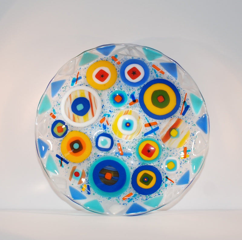 """Circles on Circle"" Fused Glass Bowl 10"" Diameter"