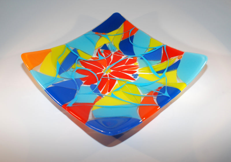 10.5 multicolor pieced fused glass plate