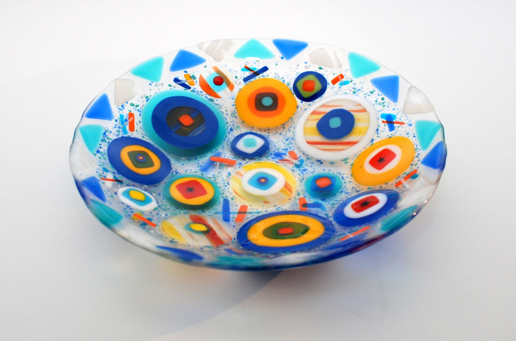10 inch Circles on circle fused glass bowl, blue and turquiose
