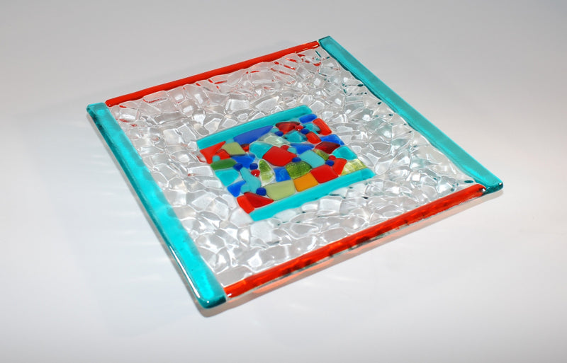 9 inch square fused glass plate, multi-color