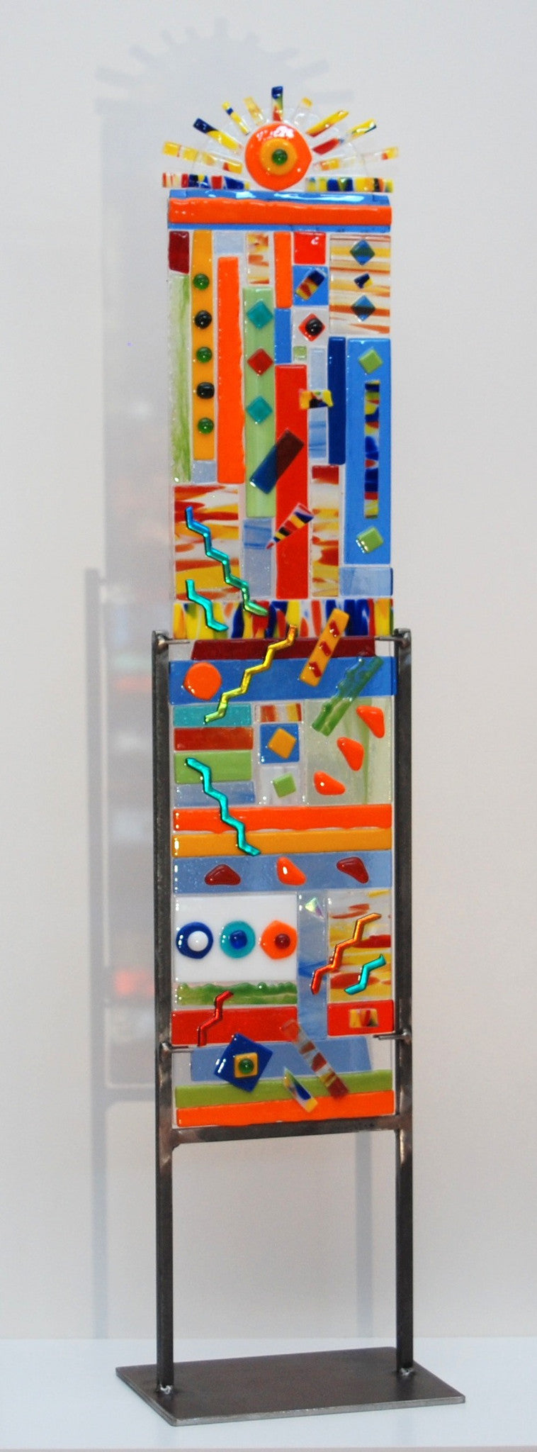 27 inch small fused glass totem, multi-colored