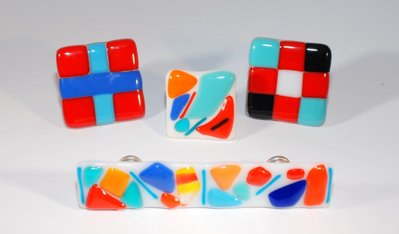"Cabinet Pull ""Chips and Pieces"" Fused Glass Multi-colored"