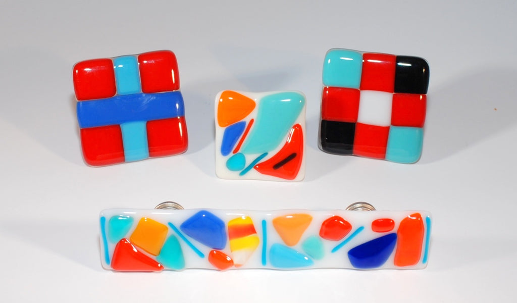 "Cabinet Knob ""Chips and Pieces"" Square Fused Glass Multi-colored"