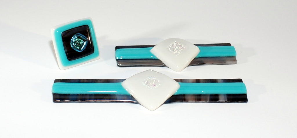 "Cabinet Knobs and Pulls ""Get a Grip"" Brown, Aqua and Dichroic Fused Glass (Set of 3)"