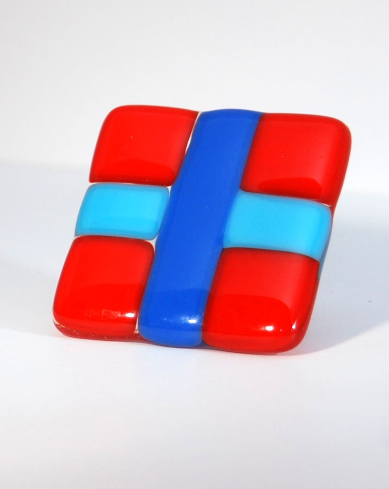 Cabinet Knob made of Colorful Checkerboard Fused Glass