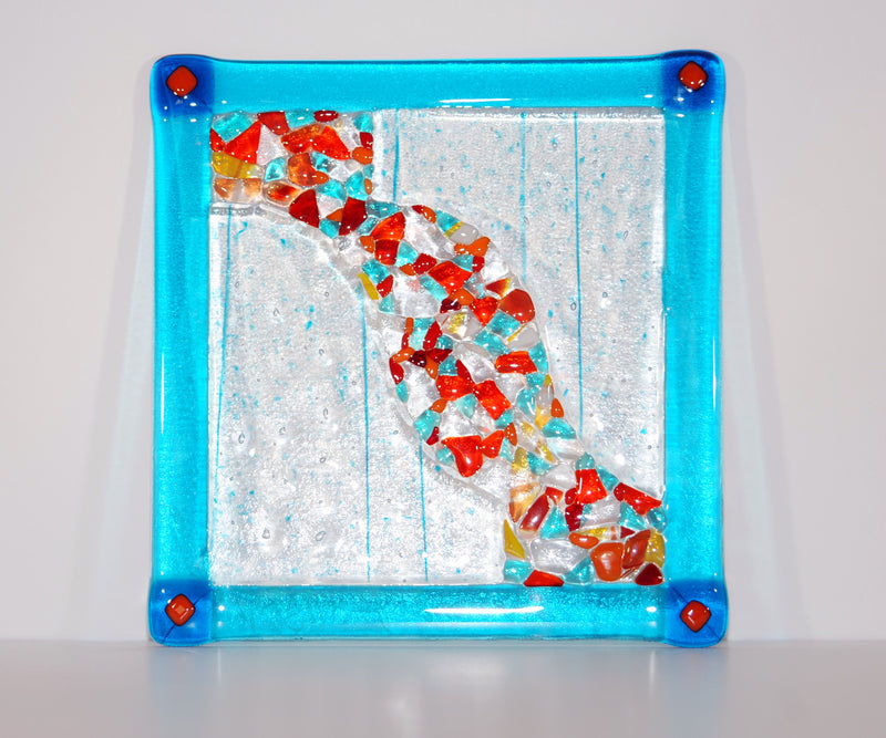 "Hand-made 9"" translucent fused glass serving plate"