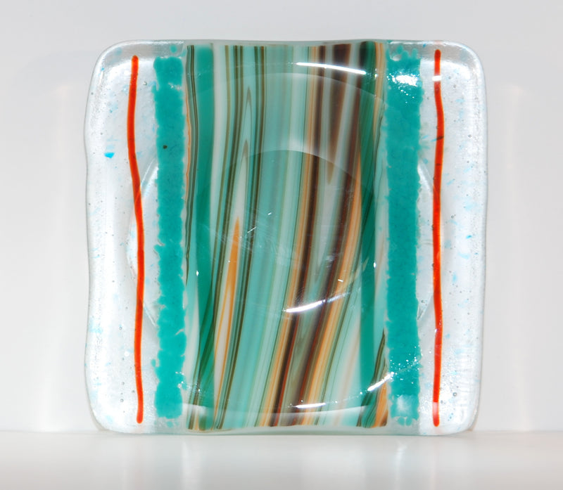 River Blend Fused Glass Square Appetizer Plate