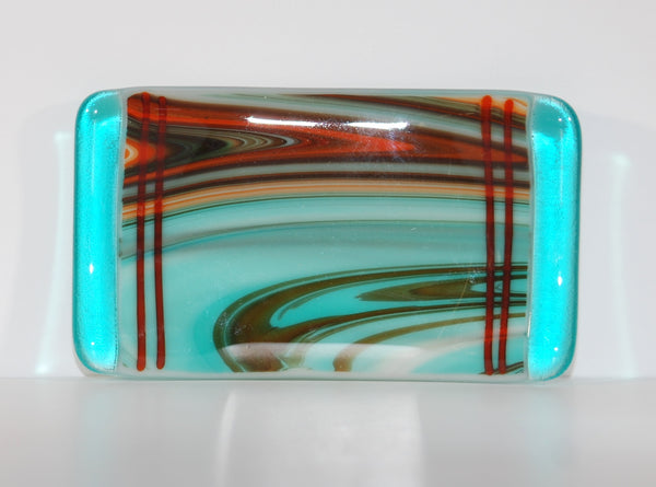 River Blend Fused Glass Trinket or Soap Dish
