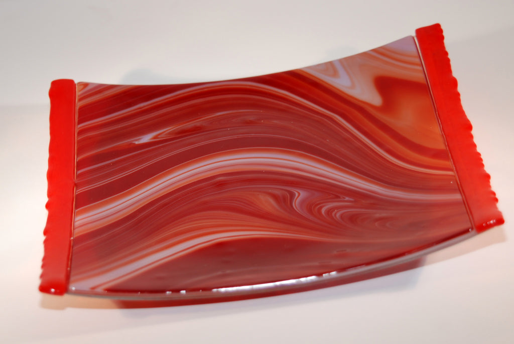 "Red ""Fuser's Reserve"" Glass Small Plate"