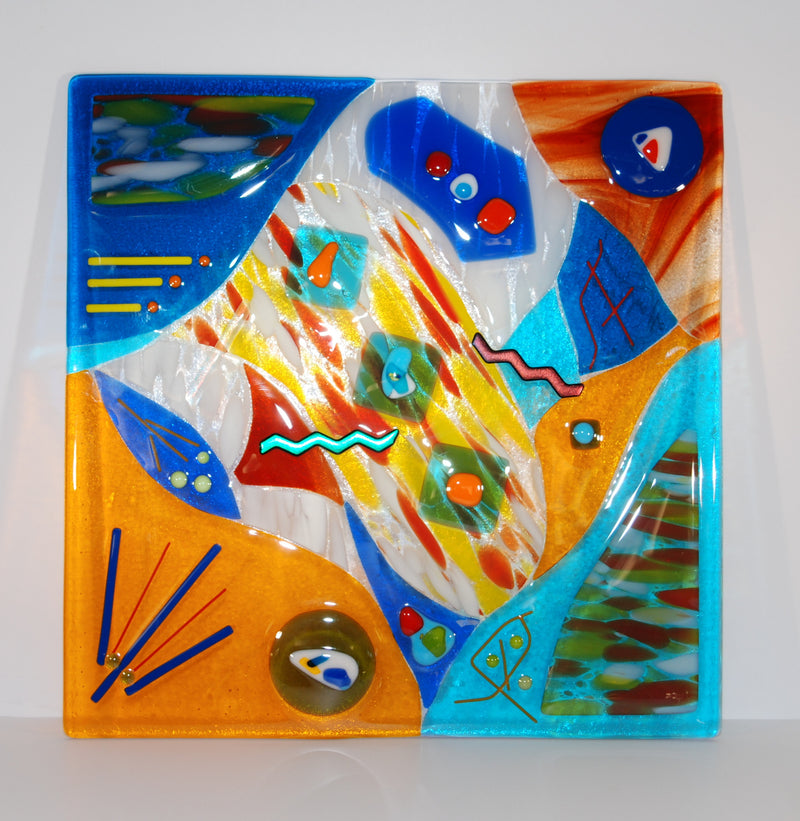 Abstract Multi-colored Large Fused Glass Panel