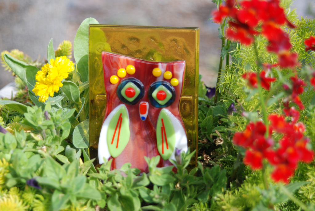 """Hooty the Owl"" Fused Glass Garden Stake"