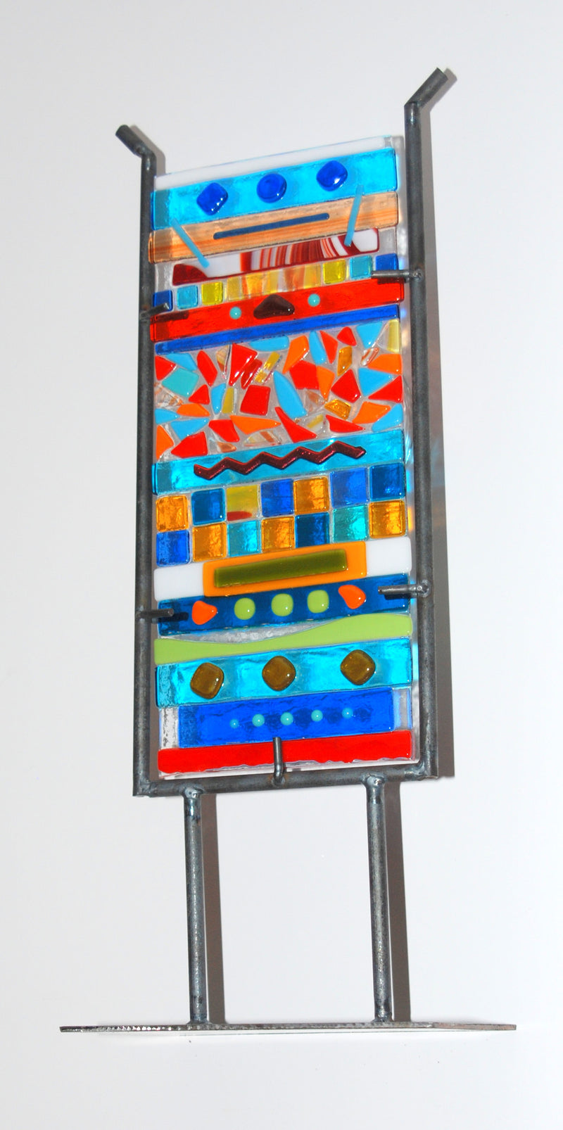 "Garden Totem ""Fiesta""  Multi Color Fused Glass Small 14"" High 6"" Wide"