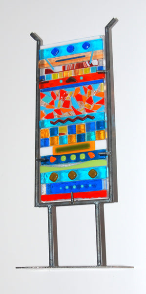 """Fiesta""  Multi Color Fused Glass Totem Small 14"" High 6"" Wide"