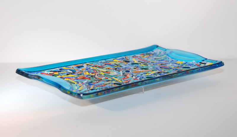 Fused Glass Tray Platter made of Hundreds of Multi-colored Small Glass Pieces